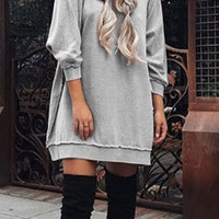 Gray Bat Sleeve Sweater Dress
