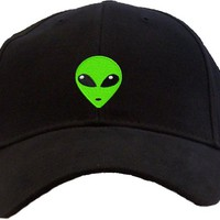 Green Alien Head Embroidered Low Profile Baseball Cap - Black