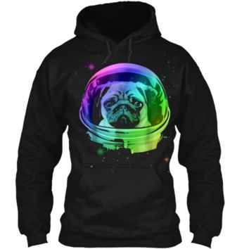 Pug Astronaut In Space T-shirt Pullover Hoodie 8 oz