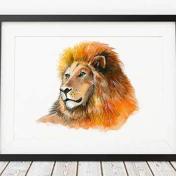 Nursery poster Lion print Animal art Watercolor print ACW579