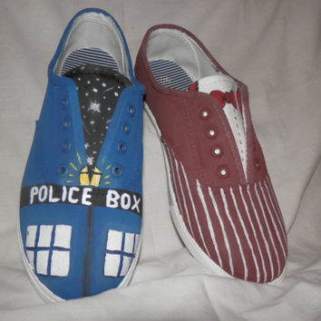 Mens Doctor Who Shoes  Tardis & 11th Doctor by 3CraftinSisters
