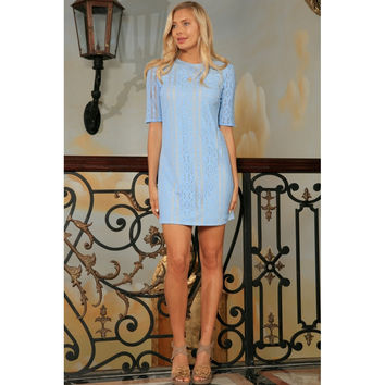 Baby Blue Crochet Lace Sleeved Cocktail Party Shift Mini Dress - Women