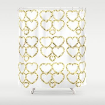 Golden hearts Shower Curtain by VanessaGF