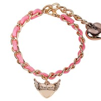 Dear Deer Fashion Pink Flying Heart Leather Bracelet