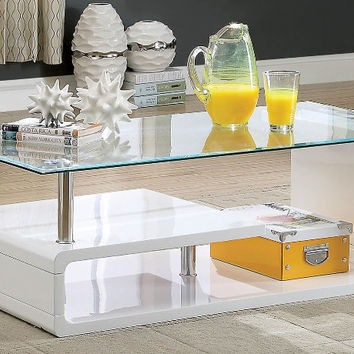 Furniture of america CM4056WH-C Torkel white finish wood modern twist glass top coffee table