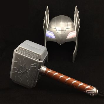Superhero Kids Children Costume Mask Halloween Party Toy Shine Thor Hammer Gift Party Props