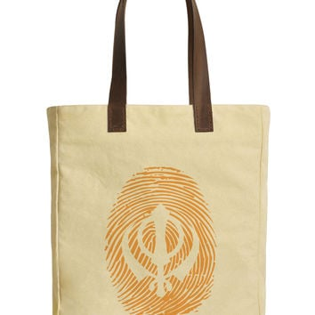 Sikh Symbol Finger Print Beige Printed Canvas Tote Bags Leather Handles WAS_30