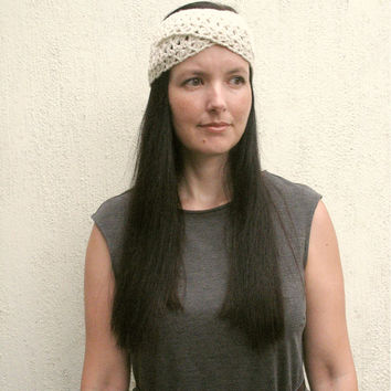 Boho Spring Headband, Crochet headband, Neutral tones, Twisted Head wrap, Gift for her, choose your color, made to order