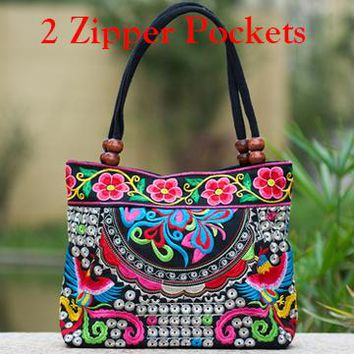Paisley Floral Women's Shoulder Bags - Ethnic Boho Embroidered  Beach Purse Canvas Handbags Totes