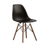 Eames Style Molded Plastic Dowel-Leg Side Chair (DSW) Walnut Legs Set of 2
