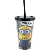 Silver Buffalo Despicable Me DM05087 What Cold Cup with Lid and Straw, 16-Ounce, Black
