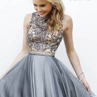 Sherri Hill 1965 Short Dress Illusion Neckline Beaded Waistband Keyhole Back