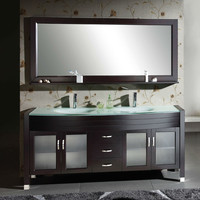 Modern Double Sink Bathroom Vanity Set with Tempered Glass Top & Mirror