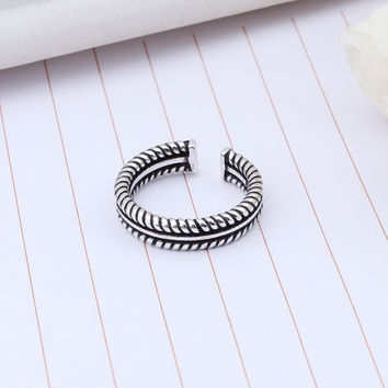 Stylish Shiny Gift Jewelry New Arrival 925 Silver Accessory Vintage Weathered Punk Double-layered Twisted Ring [7652917063]