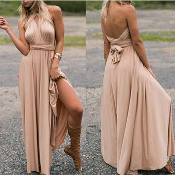 Woman Summer Dress Long Formal Party Gown Evening Dress Multi Rope Cross Backless Bandage Cocktail Sexy V Skirt Ladies Slim Sleeveless Dress
