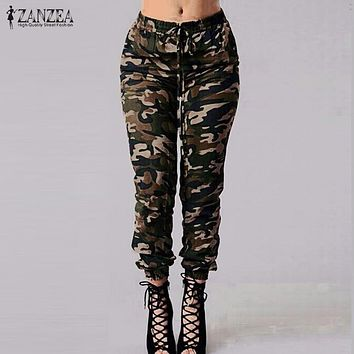 ZANZEA 2017 Autumn Army Cargo Pants Women Camouflage Printed Trousers Military Elastic Waist Pants Plus Size S-3XL