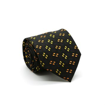 Ferrecci Mens Black/Yellow/Orange Geo Pattern Necktie with Handkerchief Set