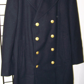 Vintage Men's US Coast Guard Academy PeaCoat, Jacob Reed's & Sons, Navy Blue, Wool, Gold Buttons, Warm Coat, Morristown PA,