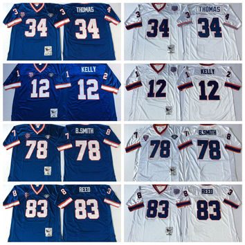 Retired Player Football Jerseys 12 Jim Kelly 34 Thurman Thomas Vintage 78 Bruce Smith 83 Andre Reed Jersey Blue Throwback Football Jersey