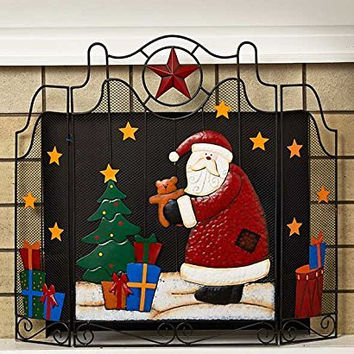 Colorful Metal Santa Star Tree Holiday Christmas Fireplace Screen