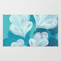Falling Feathers  Area & Throw Rug by Pixel Pop