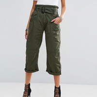 G-Star Cropped Skater Chino with Tie Belt at asos.com
