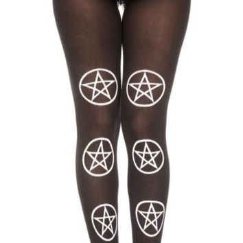 Black Six Star White Print Pantyhose