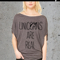 Womens UNICORN (are real) t-shirt luxuriously soft flowy  S M L XL Grey, american junkie society