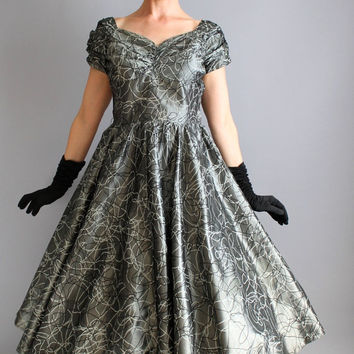 Storewide Sale - 1950s Gunmetal Gray Abstract Print Party Dress. Cocktail Dress. Mad Men Fashion. Wedding. Fall Fashion