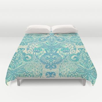Botanical Geometry - nature pattern in blue, mint green & cream Duvet Cover by Micklyn