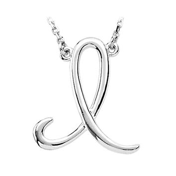 14k White Gold, Olivia Collection, Medium Script Initial I Necklace