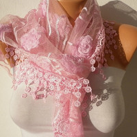 Pink  Scarf    Headband Necklace Cowl with Lace Edge by fatwoman/91448509/