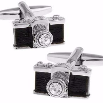 Men's 3d Black Vintage Look Camera with Clear/White Crystal Silver Tone Cuff Links