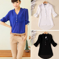 Women Casual Blouses Comfy V-Neck Single Pocket Long Sleeve Sexy Chiffon White Shirts Fold Sleeve Pure Color = 1695515268