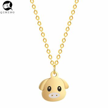 QIMING Lovely Cute Little Pig Necklace Girls Silver Gold Pendant Animal Necklace Chokers Jewelry for Men Women Gift 2017