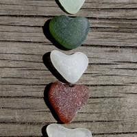 Beach Hearts, Genuine Sea glass heart shaped shards, Real beach glass, Beach decor, supplies
