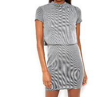 Grey Ribbed Cap Sleeve Layered Mini Dress