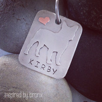 Pet Name tag, pet tag, dog tag, pet ID tag, ID tag, hand stamped name tag, French Bulldog