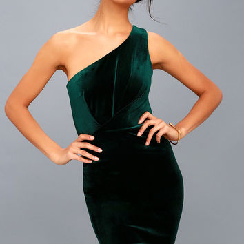 Candlelit Date Forest Green Velvet One-Shoulder Bodycon Dress
