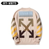OFF-White Fashion New Embroidery Gradient Arrows Fall Winter Round Neck Sweater