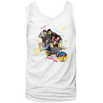 Saved By The Bell Men's  Pastel Mens Tank White Rockabilia