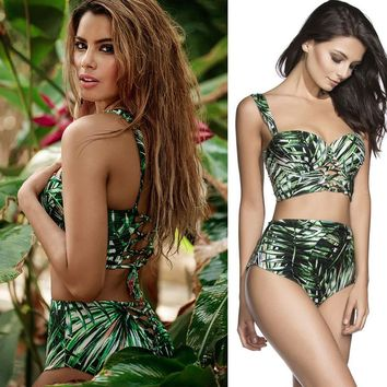 Green beach wear bikini swimwear