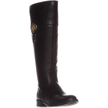 Tommy Hilfiger Ilia2 Wide Calf Riding Boots, Black, 11 US