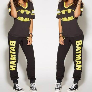 Batman Dark Knight gift Christmas Batman Ladies Cosplay Costumes T-shirt Top Joggers Trousers Sport Gym Pants Tracksuit AT_71_6