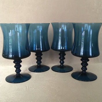 Blue Wine Glasses, Colony Glass, Richmond Pattern, Mid Century Mod, Pedestal Water Glass, Cobalt Blue Color, Three Knob Stem Vintage Serving
