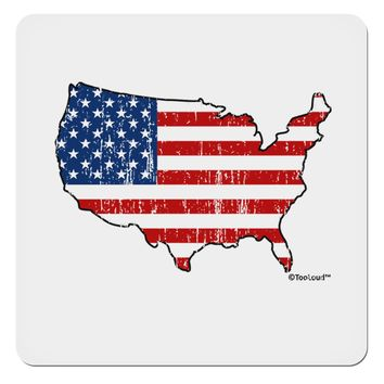 """United States Cutout - American Flag Distressed 4x4"""" Square Sticker by TooLoud"""