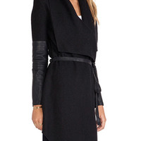 Trendy Solid Black Long Sleeve Coat with Belt