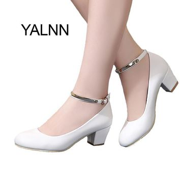 YALNN New Women's High Heels Pumps Sexy Bride Party Thick Heel Round Toe leather High