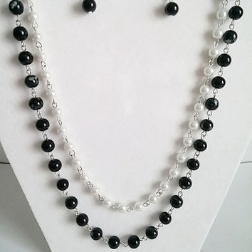 Black & White Statement Necklace-Pearl Multi Strand Necklace-White Pearl Bib Necklace-Anthropologie Necklace-Bridesmaids Jewelry Set