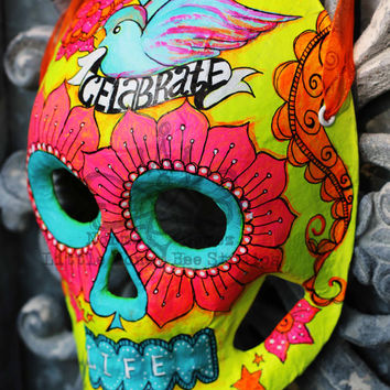 Celebrate Life Dia De Los Muertos Mask - Yellow Neon Sugar Skull Mask - Hand Painted Sugar Skull Mask - Mexican Folk Art - Halloween Mask